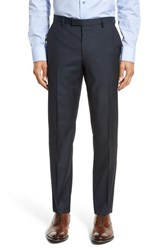 Boss Men's 'Leenon' Flat Front Solid Wool Trousers Navy