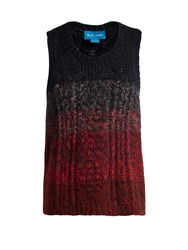 Mih Jeans Clara Pointelle And Cable Knit Vest Burgundy Multi