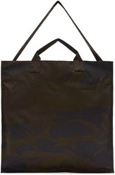 Sunnei Green And Brown Camouflage Tote