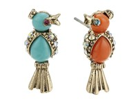Betsey Johnson Non Matching Color Bird Stud Earrings Turquoise Earring Blue