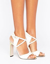 Paper Dolls Cut Out Sandal With Gold Toe Plate And Heel White Gold