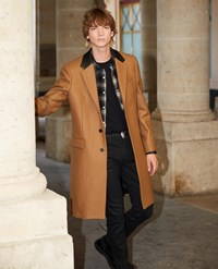 The Kooples Leather Collar Camel Belted Long Wool Coat
