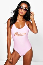 Boohoo Scoop Neck Slogan Swimsuit Pale Pink