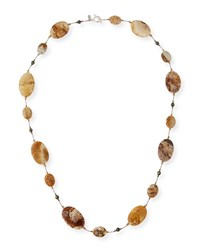 Margo Morrison Fossilized Coral And Pyrite Station Necklace