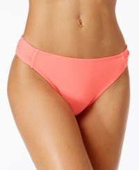 California Waves Side Tab Cheeky Bikini Bottoms Women's Swimsuit Guava Pink