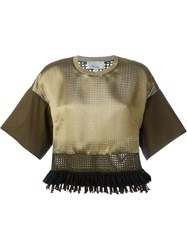 3.1 Phillip Lim Cropped Fringed Blouse Brown