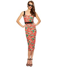 Unique Vintage Summerstock Fitted Dress Watermelon Print Women's Dress Pink