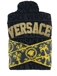 Versace Barocco And Robe Sequined Bathrobe Black Gold