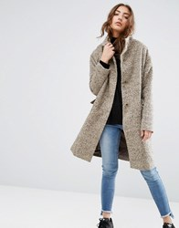 Asos Oversized Coat In Wool Blend With Funnel Neck Nude Pink