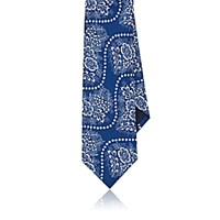 Barneys New York Men's Floral Bandana Faille Necktie Navy