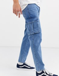 Asos Design Classic Rigid Jeans With Cargo Pocket In Light Stone Wash Blue