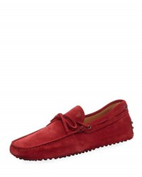 Tod's Suede Flat Slip On Moccasin Red