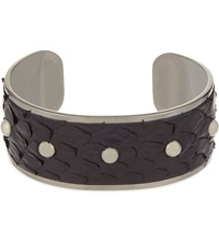 Aspinal Of London Athena Python Leather Cuff Bracelet M Black