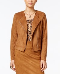 Thalia Sodi Thali Faux Suede Moto Jacket Only At Macy's Camel Suede
