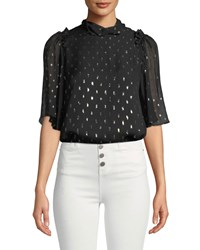 Camilla And Marc Jasmeen Flutter Sleeve Silk Top Black