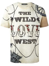 Dolce And Gabbana Wild Love Print T Shirt Nude Neutrals