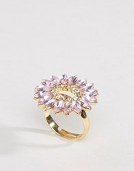 Johnny Loves Rosie Statement Floral Gem Ring In Dusky Pink Gold