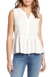 Cupcakes And Cashmere Women's Hughes Embroidered Peplum Top Ivory