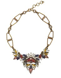 Bcbgmaxazria Multi Colored Stone And Brass Geometric Necklace Cumincom