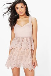 Boohoo Corded Lace Panel Detail Peplum Dress Blush
