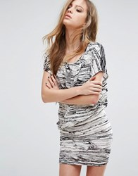 Religion Wrap Front Dress In Marble Print White