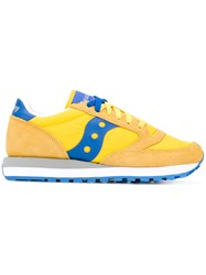 Saucony Jazz Original Sneakers Women Cotton Leather Foam Rubber 10.5 Yellow Orange