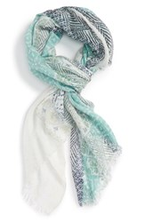 Caslonr Women's Caslon Watercolor Stamp Scarf Teal Combo