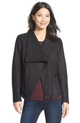 Petite Women's T Tahari 'Trisha' Drape Front Leather Jacket Black