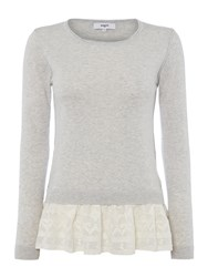 Suncoo Prisca Long Sleeve Knit With Lace Peplum Grey