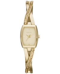 Dkny Women's Crosswalk Crystal Accent Gold Tone Stainless Steel Half Bangle Bracelet Watch 28X17mm Ny2237