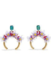 Elizabeth Cole Woman Bliss Burnished 24 Karat Gold Plated Resin And Stone Hoop Earrings Gold
