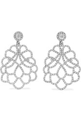 Kenneth Jay Lane Rhodium Plated Crystal Clip Earrings Silver