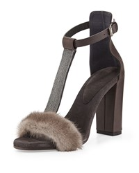 Brunello Cucinelli Monili Mink Fur T Strap Sandal Graphite Grey Women's