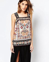 Warehouse Floral Print Cami Top Cream And Black Multi