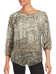 Saks Fifth Avenue Floral Roundneck Top Taupe