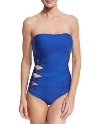 Carmen Marc Valvo Classic Weave Bandeau One Piece Swimsuit Cobalt Blue