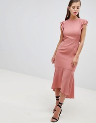 Hope And Ivy Lattice Back Pencil Dress With Ruffle Park Rose Pink