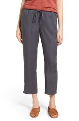 Caslonr Women's Caslon Linen Crop Pants Grey Ebony