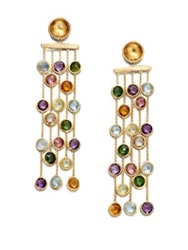 Marco Bicego Mini Jaipur Semi Precious Multi Stone And 18K Yellow Gold Five Strand Drop Earrings Gold Multi