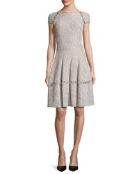 Talbot Runhof Kovalic Sparkly Boucle Tweed Dress Tan White