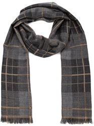 Isaia Checked Scarf Grey