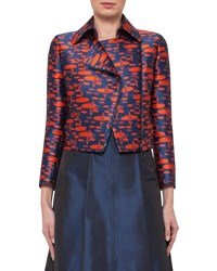 Akris Punto The Oval Moto Cropped Jacket Navy Rust Navy Red Women's