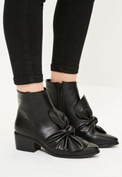 Missguided Black Faux Leather Bow Detail Ankle Boots