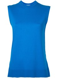 Enfold Knit Tank Top Women Silk Cotton 38 Blue