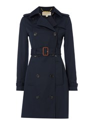 Michael Kors Outerwear Longsleeve Print Lined Trench Coat Navy