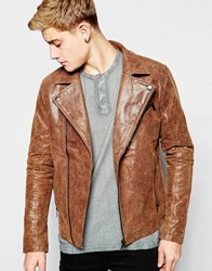 Solid Classic Leather Biker Jacket Tan