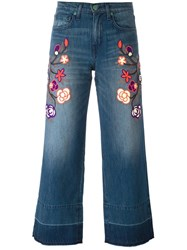 Sandrine Rose Floral Embroidered Cropped Jeans Blue