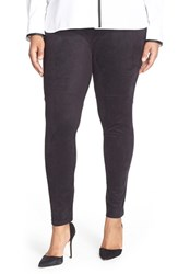Plus Size Women's Lysse High Waist Faux Suede Leggings Black