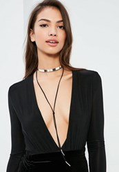 Missguided Silver And Black Metal Plate Choker Necklace