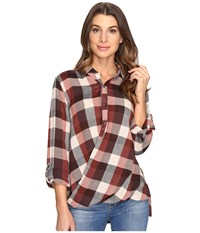 Blank Nyc Multi Plaid Drape Front Shirt In Whiskey Brown Whiskey Brown Tan